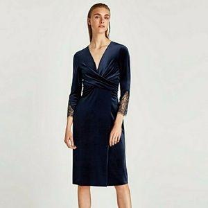Zara velvet wrap-around dress lace sleeve detail S